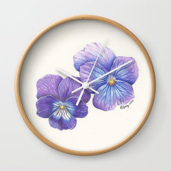 Purple Pansies Wall Clock