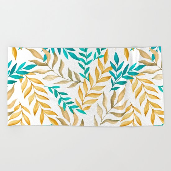 Tropical leaves (yellow and blue). Watercolor Beach Towel