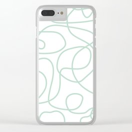 Doodle Line Art | Mint Green Lines on White Background Clear iPhone Case