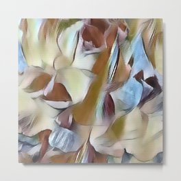 Heavenly Rose Petals Abstract - Taupe Metal Print