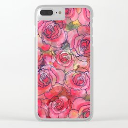 Red Watercolor Roses Clear iPhone Case