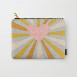 Pink radiant heart on gray Carry-All Pouch