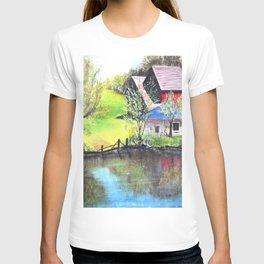 Red Barn On Lake T-shirt