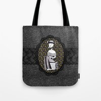 literary Tote Bags featuring Literary girl - La littéraire by Andi Lee artworks