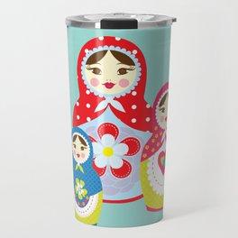 Turquoise babushka , matryoshka , russian doll , nursery decor , children gift, birthday gift Travel Mug