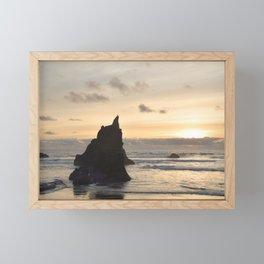 Arcadia Beach Sunset Lion Rock Oregon Coast Pacific Ocean Framed Mini Art Print