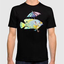 Fishy Fish - Original Watercolor of Yellow Mask Angel Fish with Umbrella T-shirt