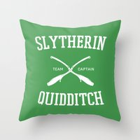 quidditch Throw Pillows featuring Hogwarts Quidditch Team: Slytherin by IA Apparel