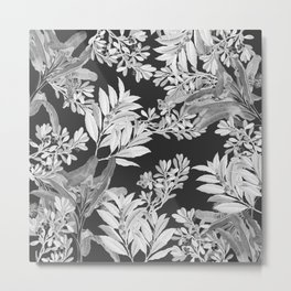 Black and White Leaves Metal Print