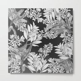 Black and White Leaves Metal Print