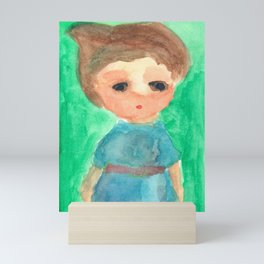 Sleepy Baby Elf in Blue Robe Mini Art Print
