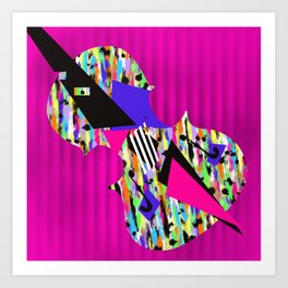 Cello Abstraction on Hot Pink Art Print