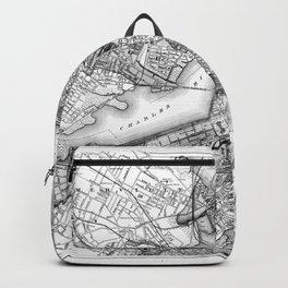 Vintage Map of Boston Massachusetts (1871) BW Backpack