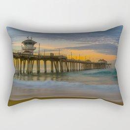 Long Exposure Sunrise at Huntington Pier Rectangular Pillow