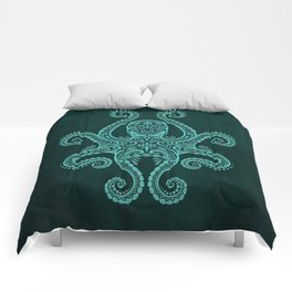 Intricate Teal Blue Octopus Comforters