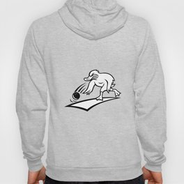 Duck Bowler Bowling Ball Cartoon Black and White Hoody