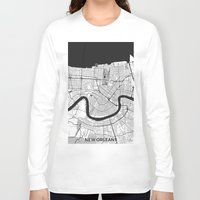 new orleans Long Sleeve T-shirts featuring New Orleans Map Gray by City Art Posters