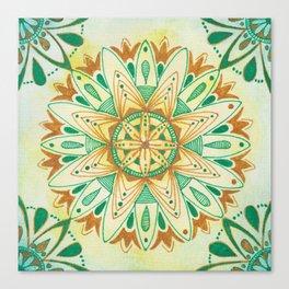 Simple Green/Yellow Mandala Canvas Print