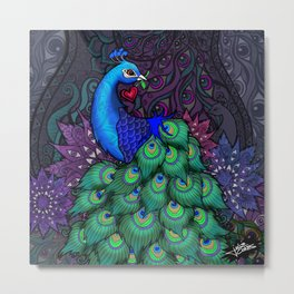 Peacock Watcher Metal Print