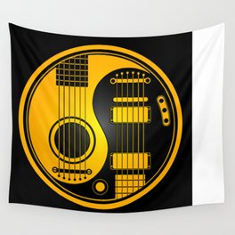 Yellow and Black Acoustic Electric Yin Yang Guitars Wall Tapestry