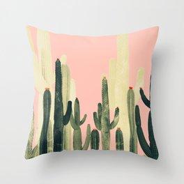 pink growing cactus Throw Pillow