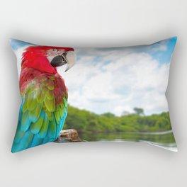 Wonderful Fantastic Colorful Ara Parrot Chilling At Lake Close Up Ultra HD Rectangular Pillow