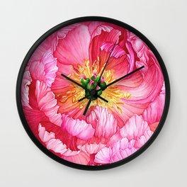 Coral Peony Watercolour Wall Clock