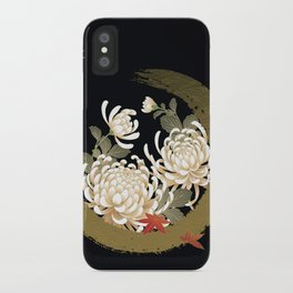 White Peonies Red Maple Leaves Japanese Kimono Pattern iPhone Case