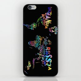 world map watercolor typography 3 iPhone Skin