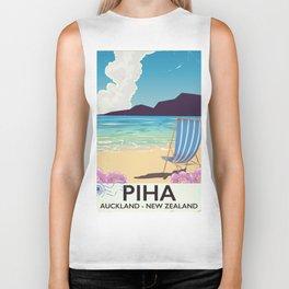 Piha New Zealand vacation poster Biker Tank