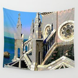Church Overlooking the Ocean Wall Tapestry