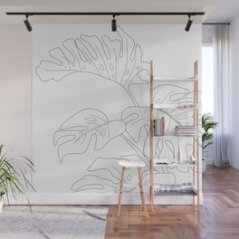 Line Art Monstera Leaves Wall Mural