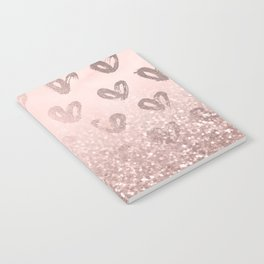 Rose Gold Sparkles on Pretty Blush Pink with Hearts Notebook