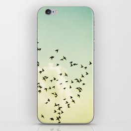 Birds Flying Photography, Birds Fly Sky, Mint Turquoise Yellow Nursery Art iPhone Skin