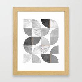 Marble Gray Copper Black and white circles Framed Art Print