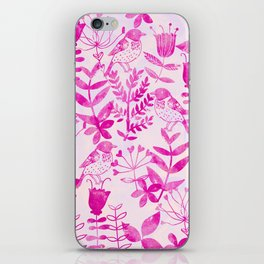 Watercolor Floral & Birds II iPhone Skin
