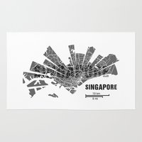 singapore Area & Throw Rugs featuring Singapore Map by Shirt Urbanization