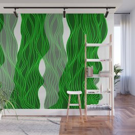 Parallel Lines No.: 03. - Green, Symmetrical Wall Mural