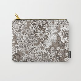 floral and paisleys monochrome Carry-All Pouch