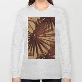 Burgundy and Coffee Tropical Beach Palm Vector Long Sleeve T-shirt