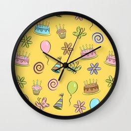 """Birthday"" (Yellow) Wall Clock"