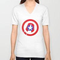 avenger V-neck T-shirts featuring Captain Avenger by foreverwars