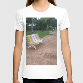 colorful bench sea boardwalk T-shirt