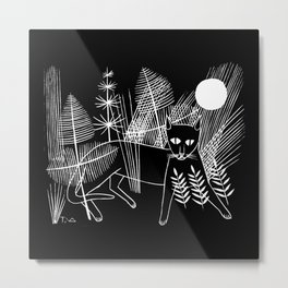 Black Panther Cat and Full Moon in the Jungle Metal Print