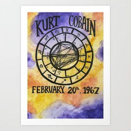 Cobain Natal Chart Art Print
