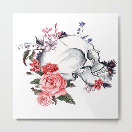 Roses Skull - Death's head Metal Print