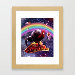 Space Panda Riding Chicken Unicorn - Taco & Burrito Framed Art Print