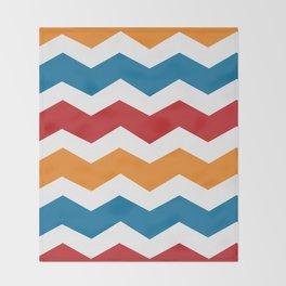 Blue Red Orange Chevron Throw Blanket