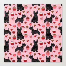 Scottie scottish terrier valentines day dog love pet portrait cute puppy dog valentine Canvas Print
