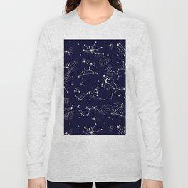 Zodiac Constellations in Night Navy Long Sleeve T-shirt